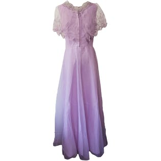 70's Lavender Purple Party Prom Maxi Dress with Mesh Embroidered Ruffle Top