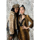 another view of Leopard Fur and Leather Bomber Jacket by Rizal