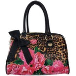 Leopard Print Purse with Pink Flowers by Betsey Johnson