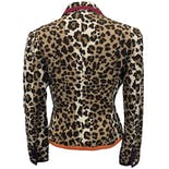 another view of Leopard Print Blazer with Multicolor Trim and Cat Pin by Moschino Cheap and Chic