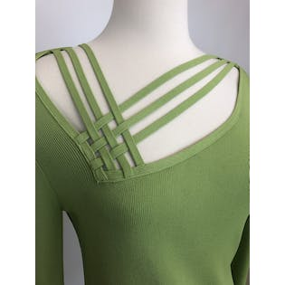 Light Green Stretch Knit Cutout Neckline Blouse by Cyrus