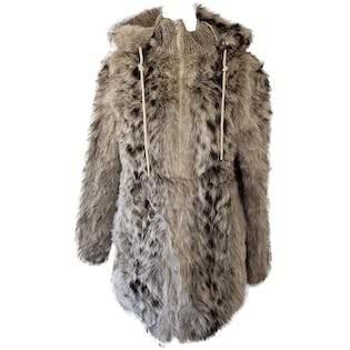 Light Tan and Brown Faux Fur Coat with Removable Hood by Monteray Fashions
