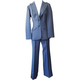 Light Blue Blazer and Trouser Set with Rose Detail by H bar C