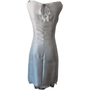 Light Blue Sleeveless Dress with Beading and Trim by Prada