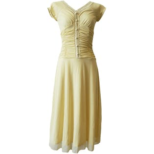 Light Yellow Dress with Lace and Ruching by Jody