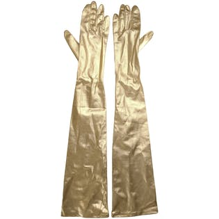 Long Gold Metallic Gloves