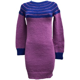 Purple and Blue Knit Sweater Dress