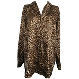Long Sleeve Cheetah Print Silky Buttoned Blouse by Private Luxuries