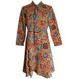 Long Sleeve Light Orange Pattern Shift Dress