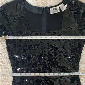 80's Black Short Sleeve Sequin Dress with Square Neckline by Lou Rose Santa Barbara Montecito