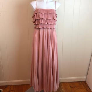 70's/80's Mauve Pink Pleated Disco Gown by Jean Jourdan