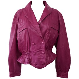 Magenta Faux Leather Double Breasted Jacket by Rbm