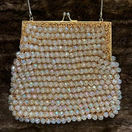 50's White Beaded Top Handle Bag by Magid New York