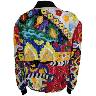 80's Bright Neon Multicolor Sequin Bomber Jacket by Laurence Kazar