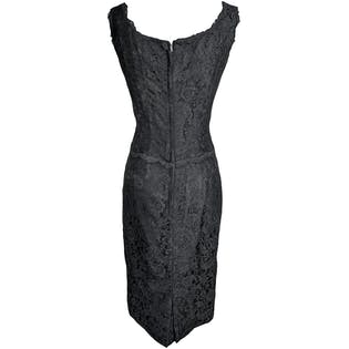 50's Black Floral Lace Fitted Sleeveless Cocktail Evening Dress by Sophisticated Miss