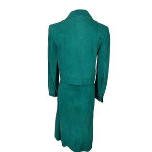 80's Teal Green Suede Buttoned Fitted Jacket Skirt Set by Rodmel Madrid
