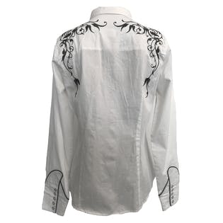 90's White and Black Embroidered Western Button Up by Ropey