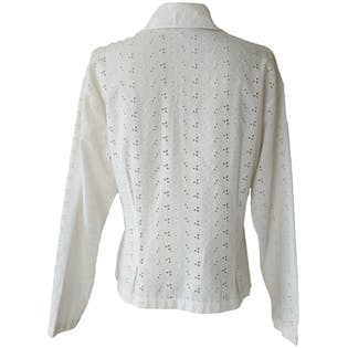 White Eyelet Lace Prairie Blouse by La Chemiserie