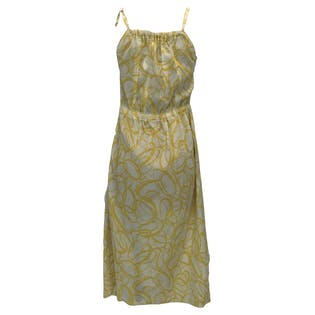 70's Yellow and White Abstract Print Elastic Waist Midi Dress