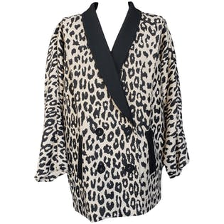 Light Tan and Black Leopard Print Oversized Blazer by Loeffler Randall