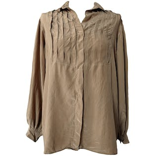 Pleated Button Down Blouse by Kenar