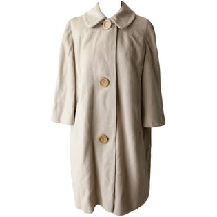 Beige Cashmere Coat with Large Button Closure