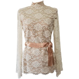 80's Cream Floral Lace High Neck Blouse with Blush Bow
