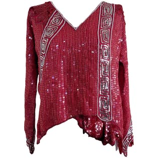 Red Asymmetrical Sequin Top