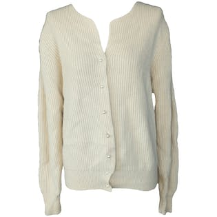 Off White Ribbed Cardigan with Pearl Buttons by Jason Maxwell