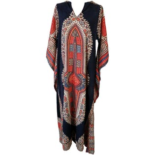 Mandala Tribal Print Caftan with Flare Sleeves