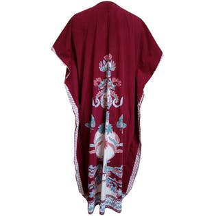 Maroon Patterned Short Sleeved Poncho Dress