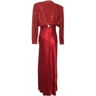 90's Maxi Sequin Red Dress with Matching Sequin Jacket by Fiesta