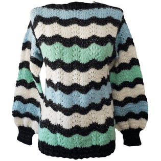 Metallic Threaded Multicolor Striped Sweater