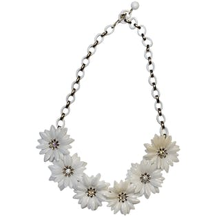 Molded Plastic White Floral Necklace