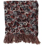 another view of 40's Off-white Brownish Red Floral Scarf with Fringe