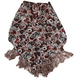40's Off-white Brownish Red Floral Scarf with Fringe