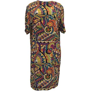 Multi Color Abstract Print Silk Shift Dress by Pat Argenti Collection