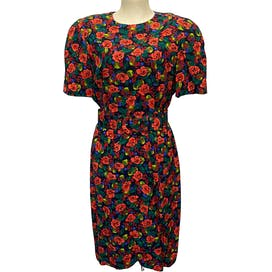 Multicolor Berry and Rose Print Short Sleeve Dress with Belt by Liz Claiborne