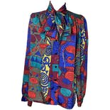 Multicolor Printed Blouse with Ascot by Gianna