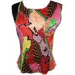 Multicolor Abstract Micro Pleated Stretch Tank by Alberto Makali