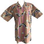 Brown Multicolor Fish Printed Short Sleeve Button Down by Z Force