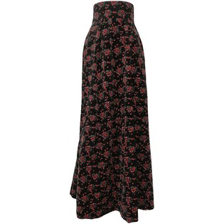 70's HandmadeFloral Velvet High Rise Pleated Maxi Skirt