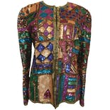 80's Multicolor Silk Sequin Jacket by Laurence Kazar