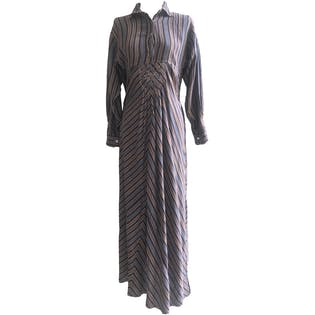 Boho Hippie Multicolor Cotton Striped Button Up Maxi Dress