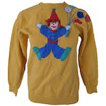 Mustard Crewneck Sweatshirt with Clown Graphic