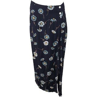 Navy Blue Midi Skirt with Light Blue Flowers by California Influence
