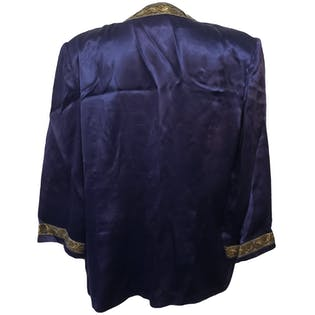 80's Blue Open Jacket with Metallic Embroidered Trim