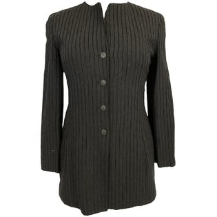 90's Navy and Black Striped Collarless Suit Jacket by Noviello Bloom Suits