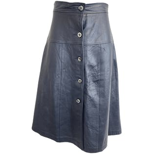 70's Navy Leather Button Up A-Line Midi Skirt