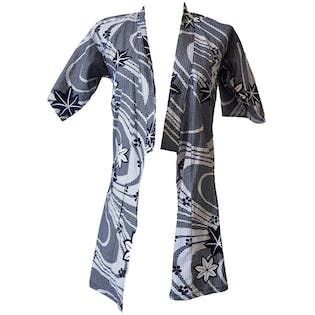 Children's Navy and White Printed Kimono by Hen